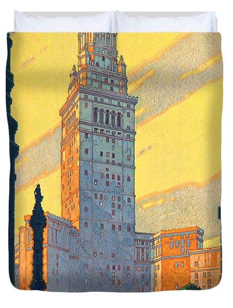Vintage Cleveland Travel Poster Duvet Cover