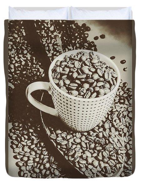 Vintage Coffee Art. Stimulant Duvet Cover