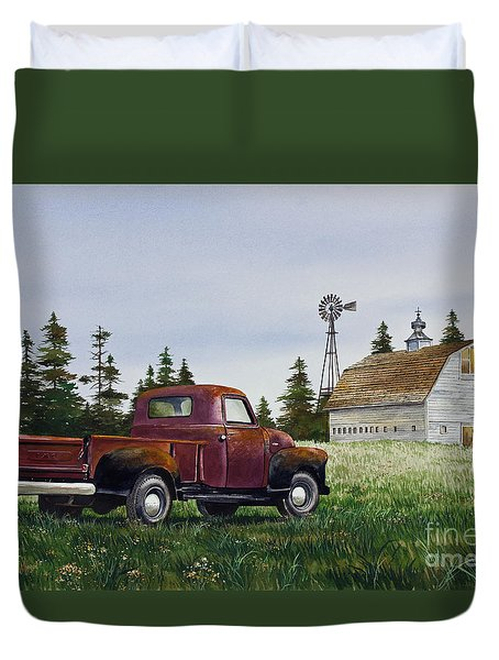 Duvet Cover featuring the painting Vintage Country Pickup by James Williamson