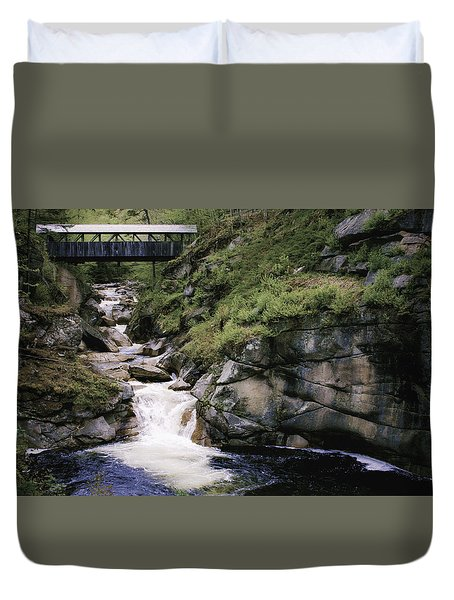 Duvet Cover featuring the photograph Vintage Covered Bridge And Waterfall by Jason Moynihan