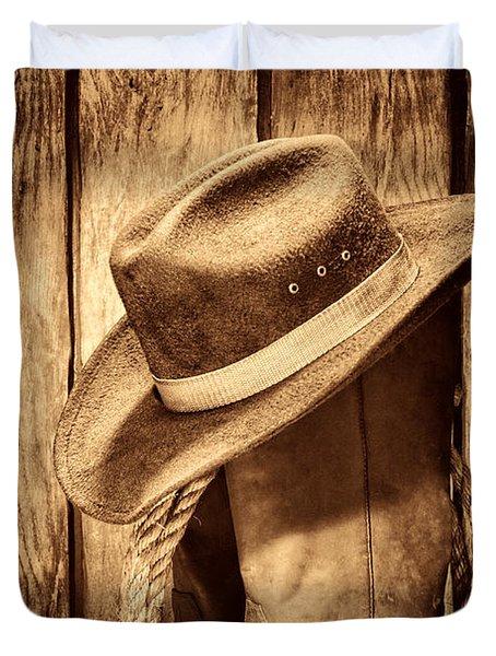 Vintage Cowboy Boots Duvet Cover