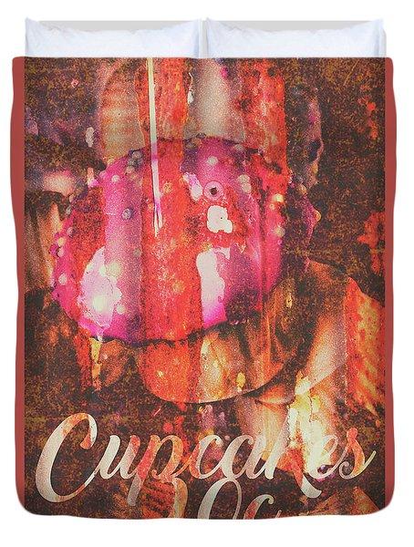 Vintage Cupcake Tin Sign Duvet Cover