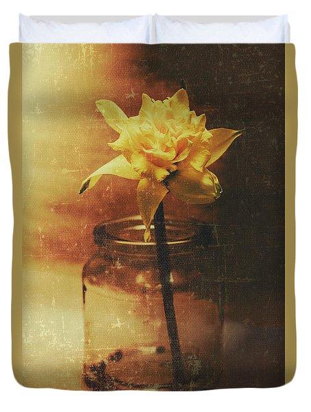 Vintage Daffodil Flower Art Duvet Cover