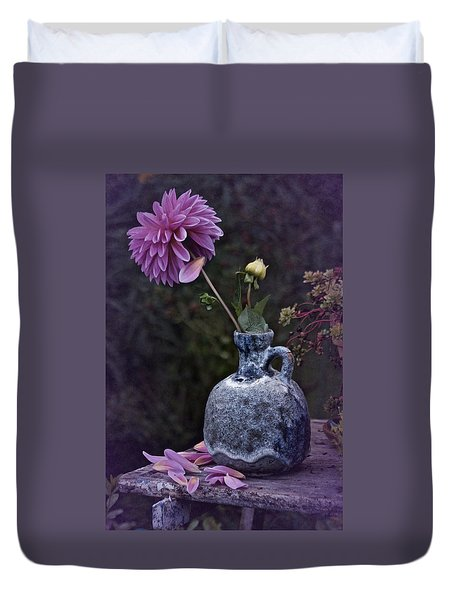Duvet Cover featuring the photograph Vintage Dahlia Still Life by Richard Cummings