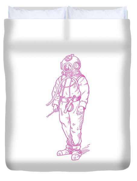 Duvet Cover featuring the digital art Vintage Diver by Edward Fielding