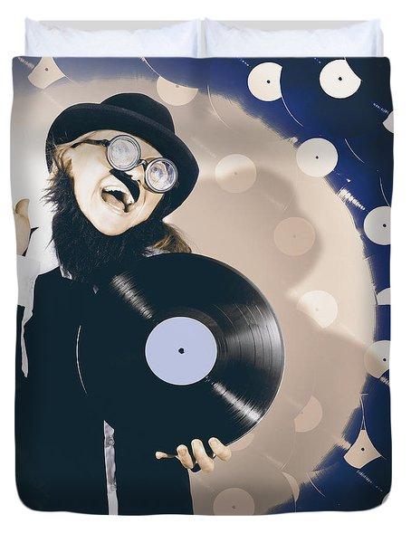 Vintage Dj Bringing Back The Retro Beat Duvet Cover