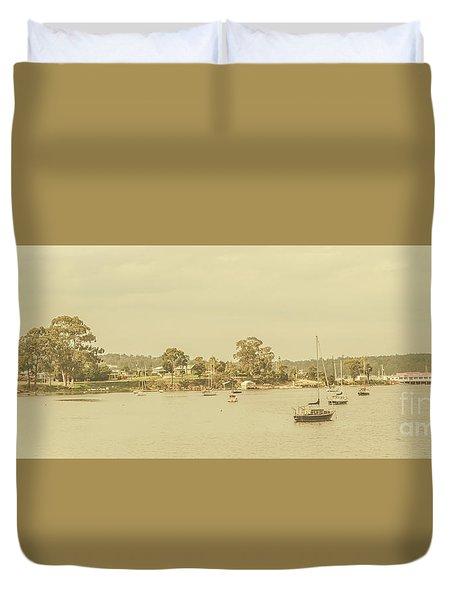 Vintage Dover Harbour Tasmania Duvet Cover