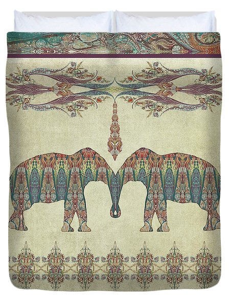 Duvet Cover featuring the painting Vintage Elephants Kashmir Paisley Shawl Pattern Artwork by Audrey Jeanne Roberts