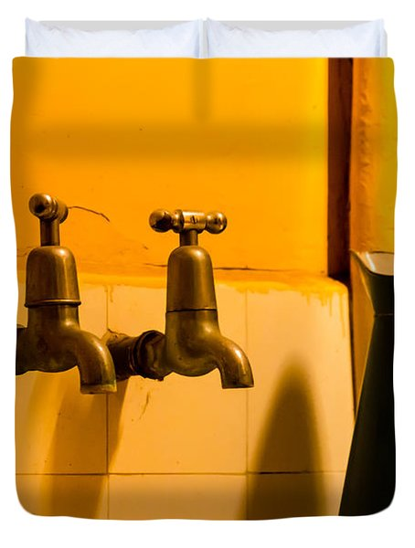 Vintage English Tap Water With Watering Can Duvet Cover