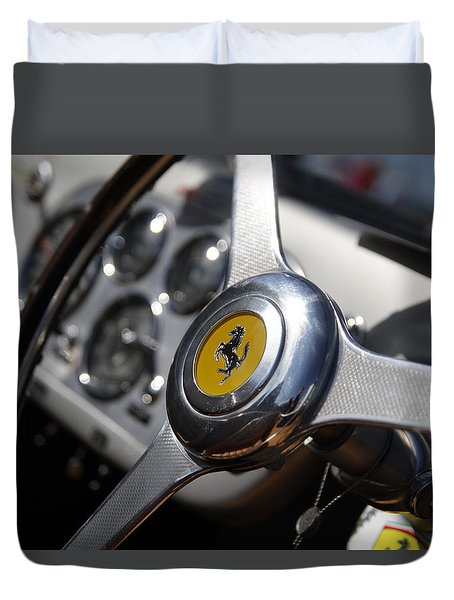 Duvet Cover featuring the photograph Vintage Ferrari Wheel by Joel Witmeyer