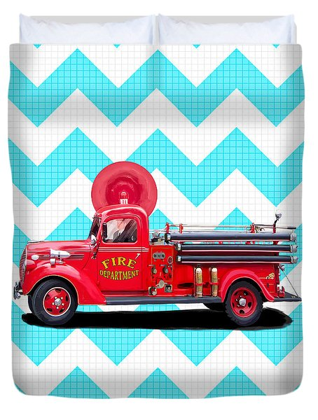 Duvet Cover featuring the mixed media Vintage Fire Truck by Mark Tisdale