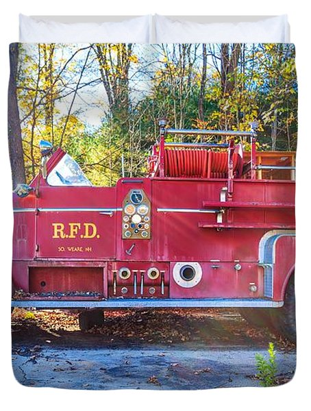 Vintage Fire Truck South Weare New Hampshire Duvet Cover