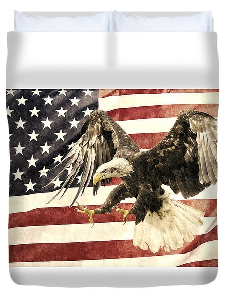 Duvet Cover featuring the photograph Vintage Flag With Eagle by Scott Carruthers