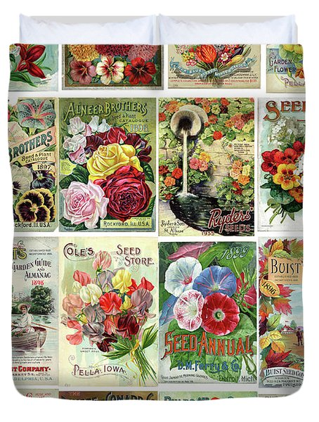 Vintage Flower Seed Packets 1 Duvet Cover