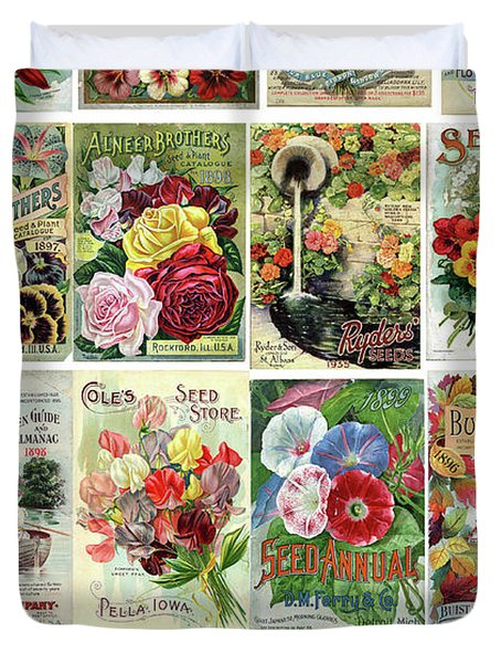 Vintage Flower Seed Packets 1 Duvet Cover by Peggy Collins