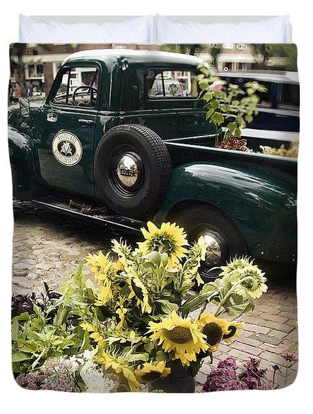 Vintage Flower Truck-nantucket Duvet Cover