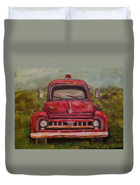 Vintage  Ford Fire Truck Duvet Cover