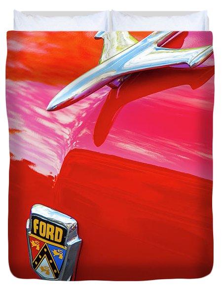Vintage Ford Hood Ornament Havana Cuba Duvet Cover by Charles Harden