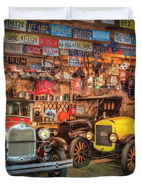 Duvet Cover featuring the photograph Vintage Fords Collectibles by Debra and Dave Vanderlaan
