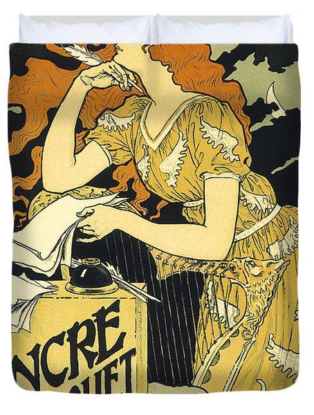 Vintage French Advertising Art Nouveau Encre L'marquet Duvet Cover