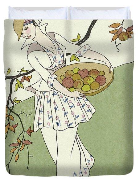 Vintage French Fashion Plate  Girl Picking Apples Duvet Cover