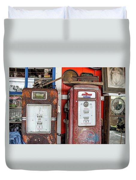 Vintage Gas Pumps Duvet Cover