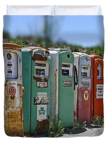 Vintage Gas Pumps Duvet Cover