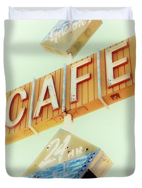 Vintage Gaston's Cafe Sign Duvet Cover