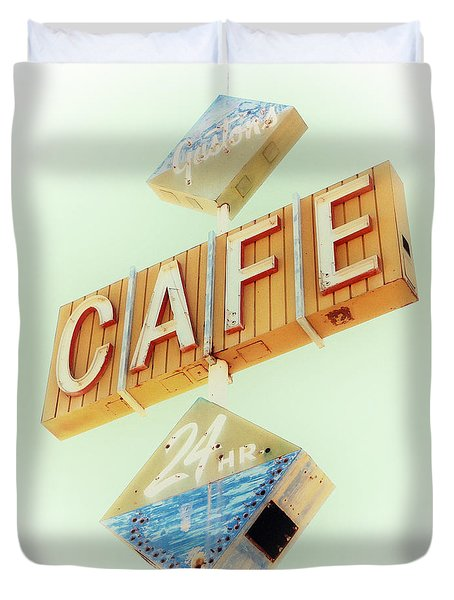 Vintage Gaston's Cafe Sign Duvet Cover