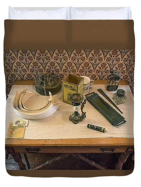 Duvet Cover featuring the photograph Vintage Gentlemen's Preparation Table by Gary Slawsky