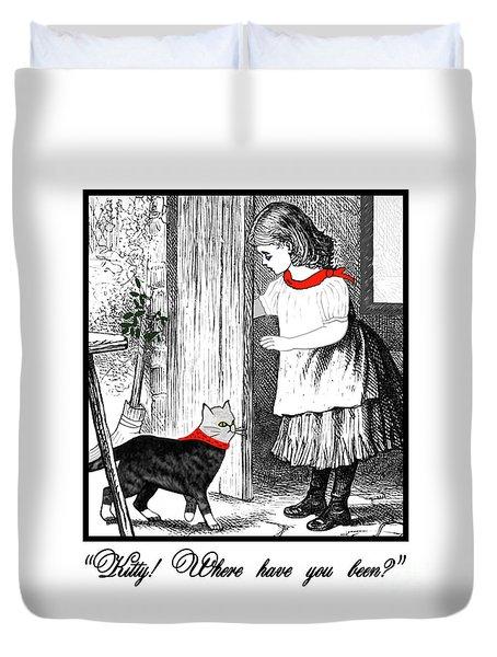 Vintage Girl Lets In Her Gray Cat Duvet Cover