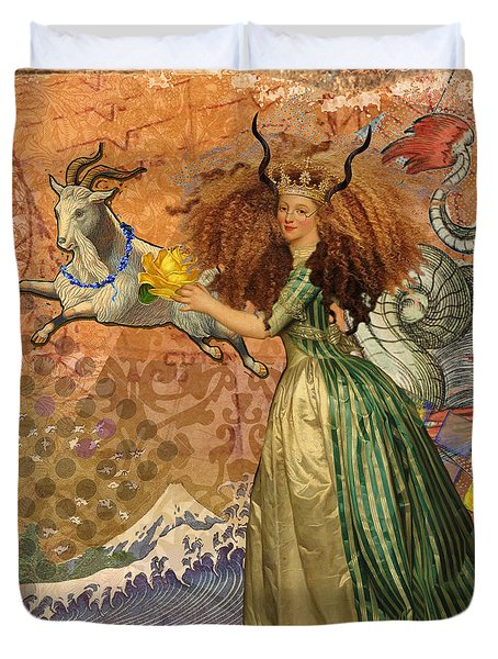 Vintage Golden Woman Capricorn Gothic Whimsical Collage Duvet Cover