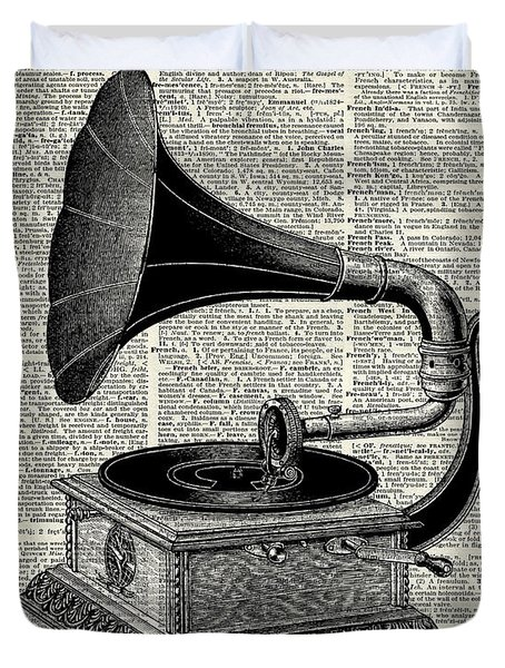 Vintage Gramophone Duvet Cover by Jacob Kuch