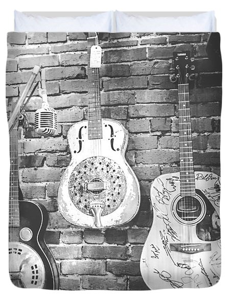 Vintage Guitar Trio In Black And White Duvet Cover