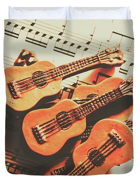 Vintage Guitars On Music Sheet Duvet Cover