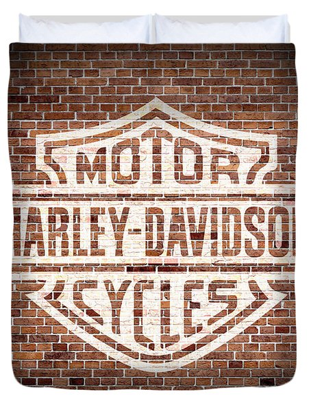 Vintage Harley Davidson Logo Painted On Old Brick Wall Duvet Cover