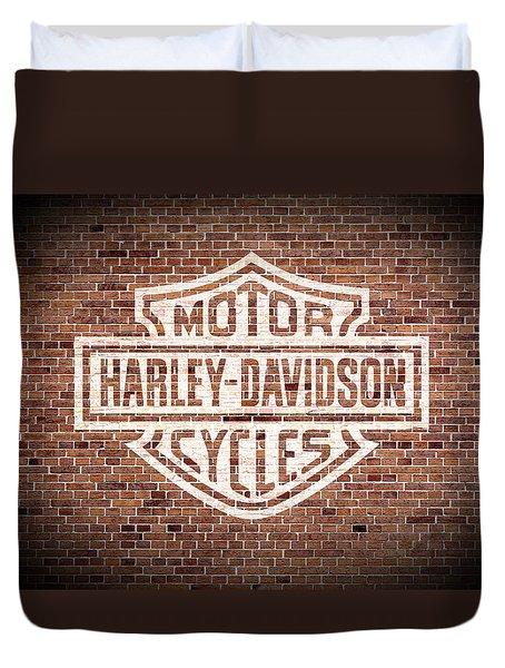 Vintage Harley Davidson Logo Painted On Old Brick Wall Duvet Cover