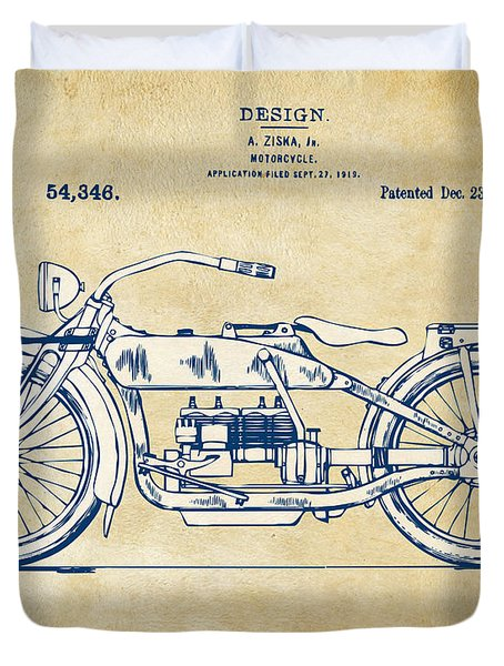 Duvet Cover featuring the digital art Vintage Harley-davidson Motorcycle 1919 Patent Artwork by Nikki Smith
