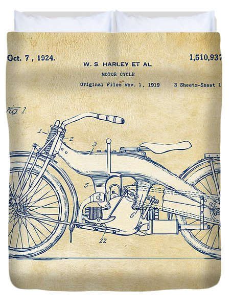 Duvet Cover featuring the digital art Vintage Harley-davidson Motorcycle 1924 Patent Artwork by Nikki Smith