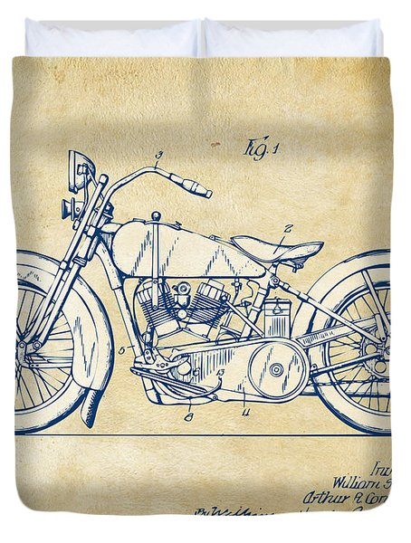 Duvet Cover featuring the digital art Vintage Harley-davidson Motorcycle 1928 Patent Artwork by Nikki Smith