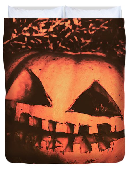 Vintage Horror Pumpkin Head Duvet Cover