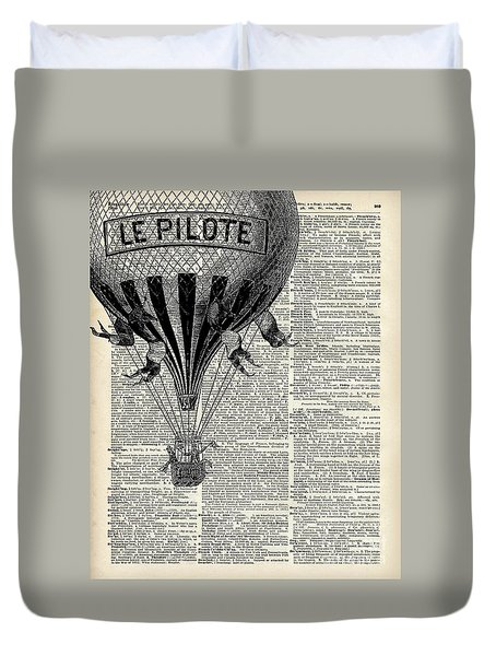Vintage Hot Air Balloon Illustration,antique Dictionary Book Page Design Duvet Cover by Jacob Kuch
