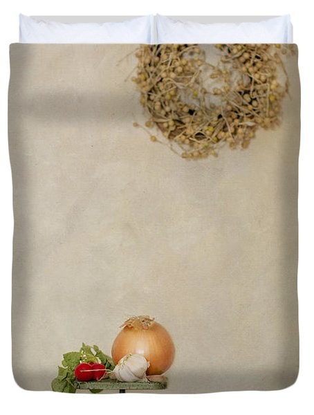 Vintage Household Scale And Vegtables Duvet Cover