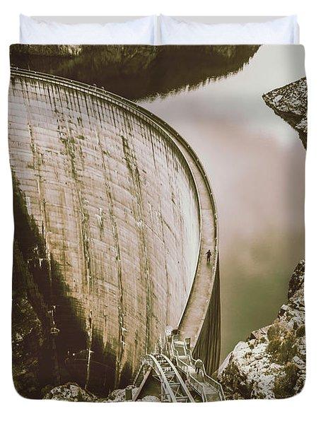 Vintage Hydro-electric Dam Duvet Cover