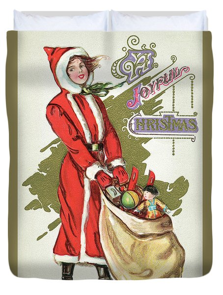 Vintage Illustration Of A Girl In A Santa Claus Suit With A Bag Of Christmas Toys Duvet Cover