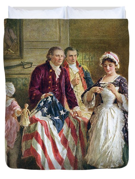 Vintage Illustration Of George Washington Watching Betsy Ross Sew The American Flag Duvet Cover