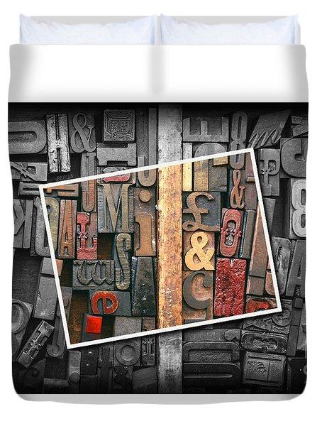 Vintage Inked Typeface Duvet Cover