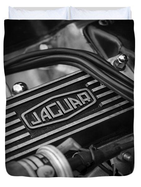 Duvet Cover featuring the photograph Vintage Jaguar Engine by Clare Bambers
