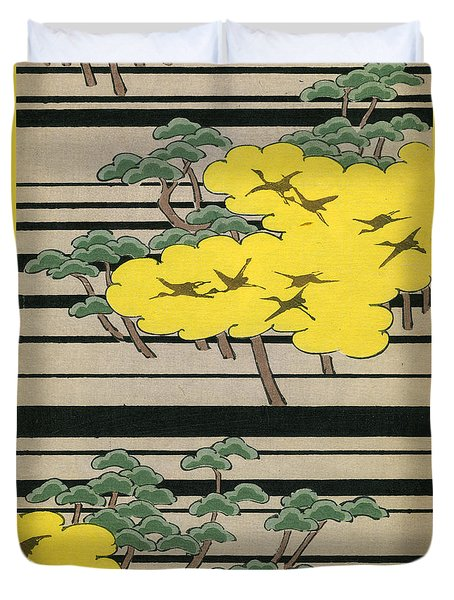 Vintage Japanese Illustration Of An Abstract Forest Landscape With Flying Cranes Duvet Cover