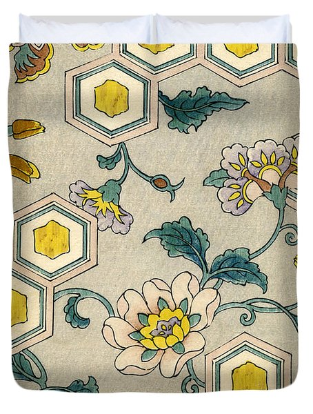 Vintage Japanese Illustration Of Blossoms On A Honeycomb Background Duvet Cover